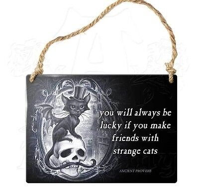 Strange Cats Alchemy Enameled Metal Art Sign Wiccan Pagan Decor ALHS11