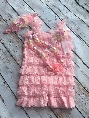Baby Girl Lace Ruffle Pink Romper Birthday Cake Smash Outfit