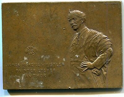 1905 Bronze Plaque James McNeill Whistler by VD Brenner