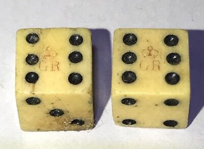 Antique Dice With Tax Stamp From 1765 King George Initials & Crown Prominent