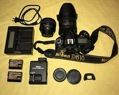 Nikon D610 with 50mm 1.8 G & 24-85mm 3.5-4.5 G Lenses & Extra Batteries!