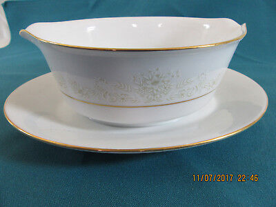Contemporary Fine China by Noritake Japan Dearest Gravy Boat with Attached Plate
