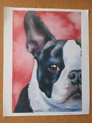 BOSTON TERRIER ART Print 8x10 Portrait Painting Signed by Watercolor Artist DJR