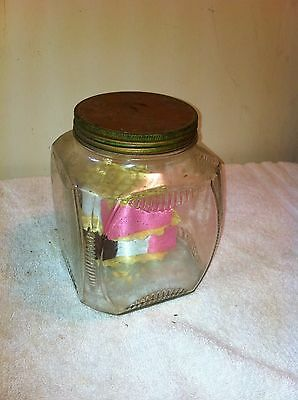 Vtg Mid-Cent General Store Glass Mayo Jar tin lid with ice crean treat display