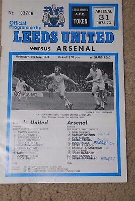 Leeds United Vs Arsenal Fc Official Programme 1972/1973 League Division 1