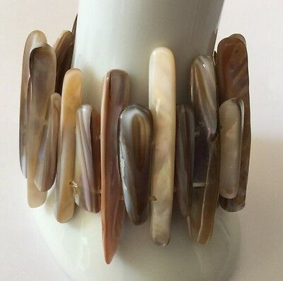 Vintage Mother Of Pearl MOP Shell Bangle Wide Stretch Bracelet Cuff Stick Beads