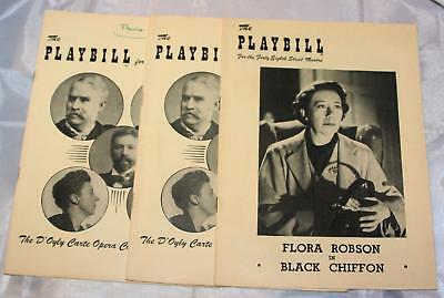 Vintage Lot of 3 Old 1950's Playbills Broadway Shows Black Chiffon D'Oyly Opera