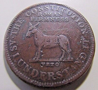 """1830's Hard Times Token """"I Take The Responsibility"""" """"The Constitution"""""""