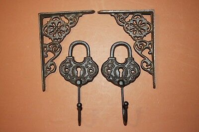 Vintage-look Old-Fashioned Padlock, Vintage-Style Wall Shelf Brackets, Cast Iron
