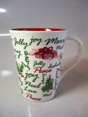 Starbucks 2007 Holiday Christmas Cup Mug ~ Love/Peace/Joy/Noel/Merry ~ Red Int.