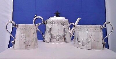 Silver Plate 3 Piece Teaset Chased Floral Swags Thomas Wilkinson & Sons c. 1875