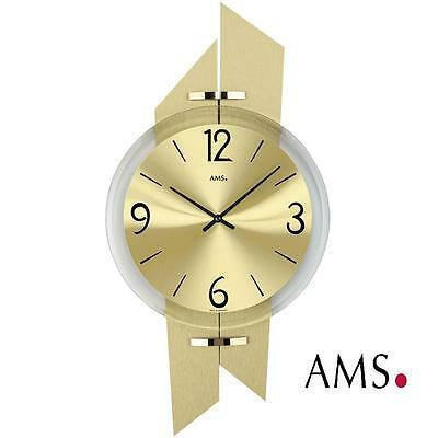 AMS Wall Clock 9344 quartz polished anodized brass Pads Office Clock