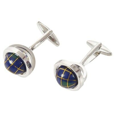 Jewellery 2pcs Mens Globe Shirts Cufflinks, Wedding, Blue 1 Pair A5C1