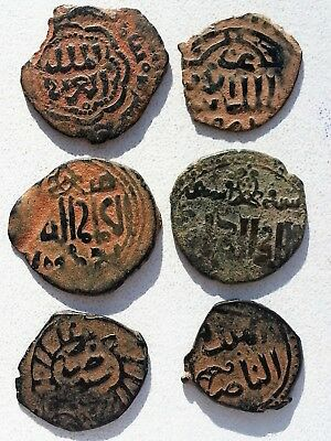 Lot Of 6 Ancient Islamic Bronze Coins.