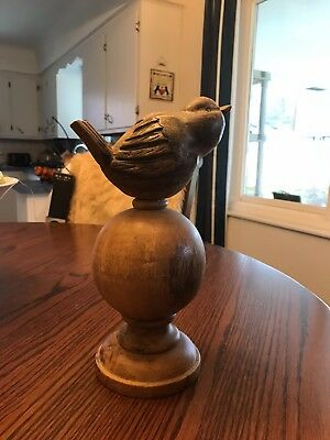 """Wooden Bird on Stand/Finial - About 11"""" x 6"""" x 4.5"""""""