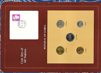 Coin Sets of All Nations Korea 5 coin 1971 - 1983 UNC 5 won 1971 10 Won 1980