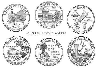 2009 Unc  US Territories and DC Quarter Set 6 coins free ship after first