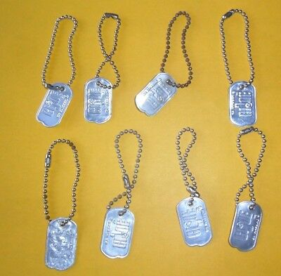 Lot of 8 Vintage GI Joe Dog Tags - All Original and marked Bead Chain - Look