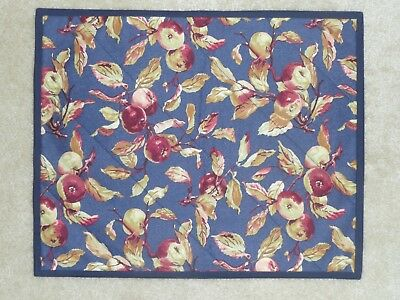NEW Handmade 4 placemats Longaberger Early Harvest, Apples, Fruit Navy Rectangle