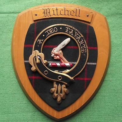 Vintage Scottish Clan Mitchell Tartan Oak Plaque Crest Shield