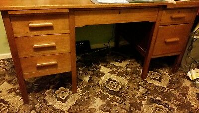 Vintage Solid  Wood Office /  School Desk
