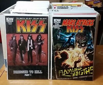 KISS IDW all 8 issues, different covers + Mars Attacks 10 comic books lot Mint