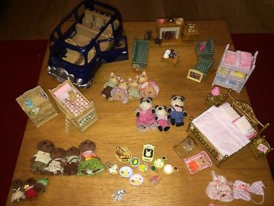 Fabulous Sylvanian Bundle with Furniture, Bluebell Car, Families and more!
