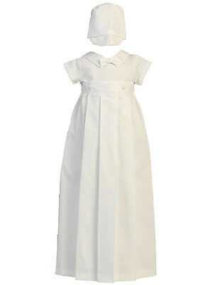 Boys Cotton Weave Christening Romper & Hat with Removable Skirt NWT 3/6m Lito