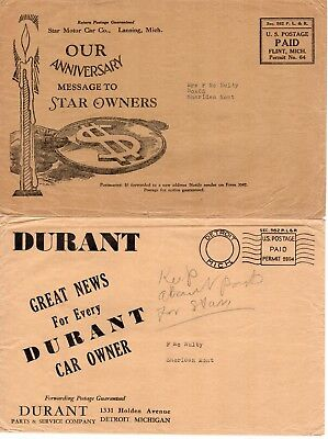Advertising envelopes for Durant & Star automobiles, 1921-28 +some  enclosures