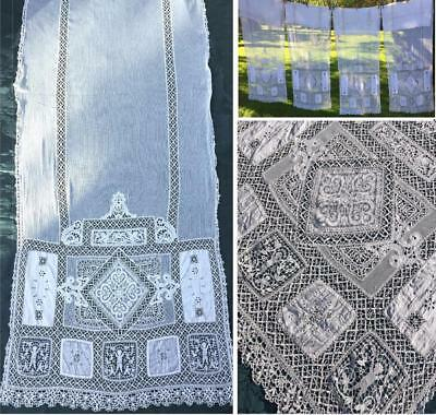 4 Antique Figural Belle Epoque Bobbin Lace/ Needle-Lace Boudoir Curtains/ Drapes