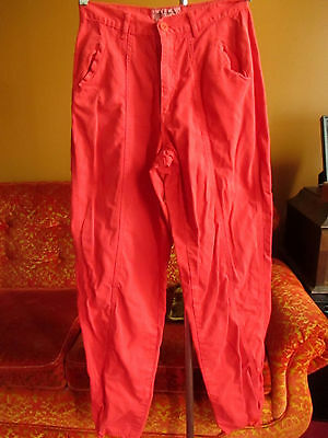 27x34 True Vtg 80s WOMENS sz 11 BRITTANIA NEW WAVE RED DISCO TAPERED PANTS/JEANS
