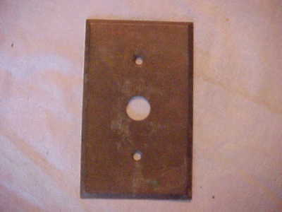 Antique Vintage Brass Single Push Button Switch Gang Plate or Doorbell Plate