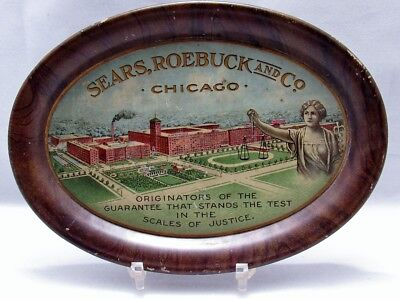 Early 1900 Sears Roebuck Chicago Department Store Tin Litho Advertising Tip Tray