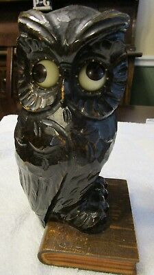 Vintage German Black Forest Oswald Owl clock w/ rotating eyes perched on a book