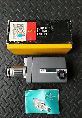 VTG  8mm Movie CAMERA KODAK ZOOM 8 Automatic f/1.9  in box - tested, works great