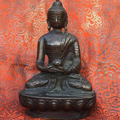 AUTHENTIC ANTIQUE 19th C. CHINESE or SOUTHEAST ASIAN BRONZE FIGURE OF BUDDHA