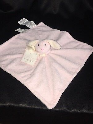 Pottery Barn Kids Bunny Lovey Pink Nose White On Ears Thumbie NWT