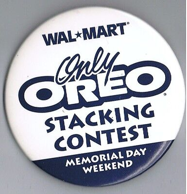 "Only Oreo Stacking Contest 3"" Advertising Pinback Button Nabisco Cookie WalMart"