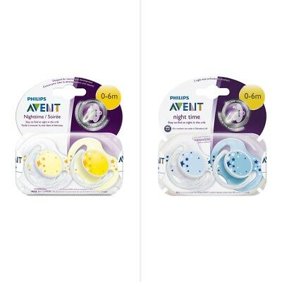 Philips Avent Night Time 0-6 Months Soother 2 Pack - Assorted*