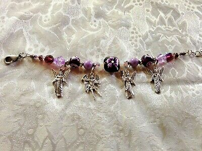 """ARCH-ANGEL Hand-Made Bracelet, 4 Medals 8"""" Adjustable NEW  PURPLE COLOR beads,"""