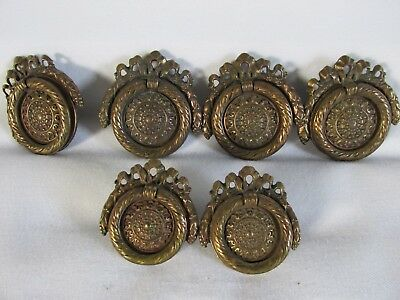 Ornate Victorian Style Heavy Cast Brass Drawer Pulls, Set of 6