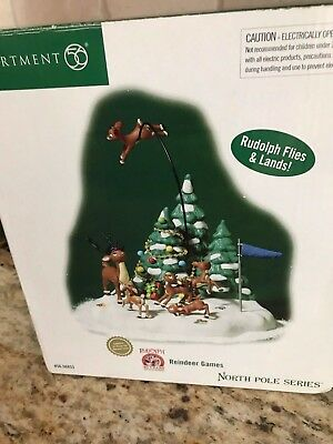 """Dept 56 Rudolph , North Pole Series, """"reindeer Games"""" With Extras"""