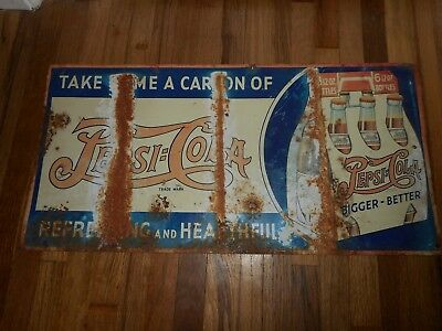 Vintage RARE 1930s PEPSI COLA SODA DOUBLE DOT Advertising Sign SIX PACK CARTON