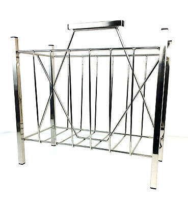 Mid Century Modern Vintage Chrome Plated Metal Magazine Record Book Rack