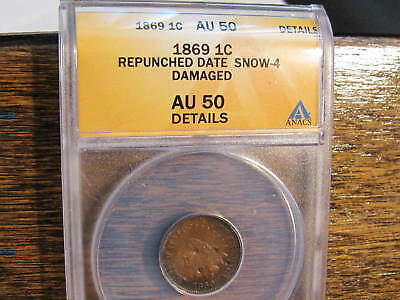 1869/69  Indian Head Cent Repunched Date