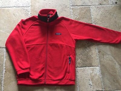 Patagonia Red And Blue  Fleece Full Zip Jacket Coat Boys Large 12 EUC