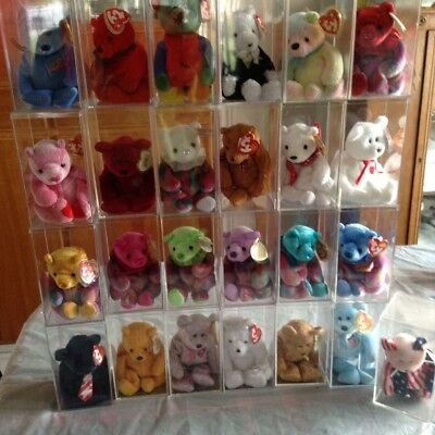 50 Collectable Ty Beanie Bear Babies Some Retired All In Cases