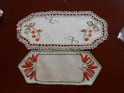 Two Vintage Embroidered Cream Linen Sandwich Tray Doilies
