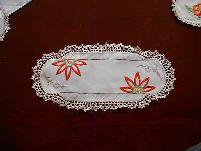 Vintage Hand Embroidered Cream Linen Sandwich Tray Doilie With Crochet Edge