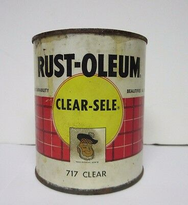 Vintage 1955 Rust-Oleum Scotty Clear Sele 1 Quart Paint Varnish Can Paper Label